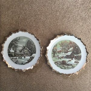Vintage Currier and Ives decorative plates